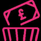 money in the bin icon